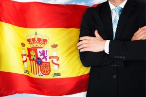 36179303 - close-up of businessman in front of spanish flag